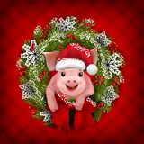 Adorable little pig in Christmas wreath. Vector stock image