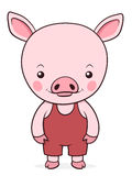 Adorable little pink pig in dungarees Stock Image