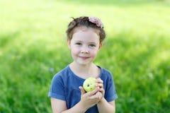 Adorable little preschool kid girl eating green apple on organic farm Stock Images