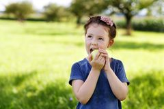 Adorable little preschool kid girl eating green apple on organic farm Royalty Free Stock Photos