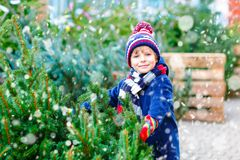 Adorable little smiling kid boy holding Christmas tree on market. Happy healthy child in winter fashion clothes choosing. And buying big Xmas tree in outdoor royalty free stock photography