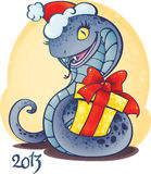 Adorable little snake with Christmas gift. Royalty Free Stock Photography