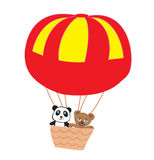 Adorable little teddies in an air balloon Royalty Free Stock Images