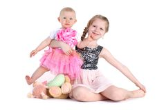 Adorable little two sisters 8 year and  11 month Royalty Free Stock Images