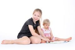 Adorable little two sisters Royalty Free Stock Photo
