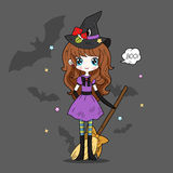 Adorable little witch. Halloween Stock Photography