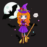 Adorable little witch. Halloween. Vector illustration or background. Template for your design Royalty Free Stock Photos