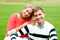 Adorable love couple, woman embracing her man Stock Image