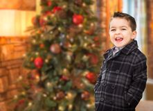 Adorable Mixed Race Caucasian and Hispanic Boy In Front of Chris. Handsome Mixed Race Caucasian and Hispanic Boy In Front of Christmas Tree stock photo