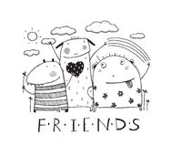 Adorable monsters friends outline black and white cartoon Royalty Free Stock Images