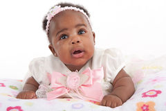 Adorable 3-month Old Baby Girl Portrait Stock Photo