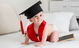Adorable 10 months old baby in graduation cap crawling on bed Royalty Free Stock Photo