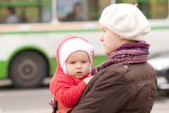 Adorable mother and daughter stay on crossroad Stock Photography