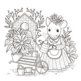 Adorable mouse coloring page Stock Images