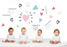 multiethnic toddler boys and girls royalty free illustration