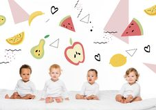 Multiethnic toddler boys and girls stock image