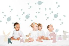 multiethnic toddler boys and girls stock illustration
