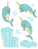 Adorable narwhal fish character. A set of adorable smiling cartoon narwhal animal characters. Unicorn fish in different positions, shiny iceberg and bubbles Stock Photos
