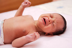 Adorable new born baby crying. And shouting Royalty Free Stock Photo