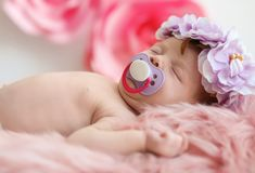 Adorable newborn baby girl with floral headband royalty free stock photo