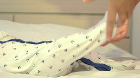 Adorable newborn boy playing with his mother stock video footage