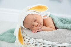 Adorable newborn child wearing bunny ears hat in baby nest royalty free stock image