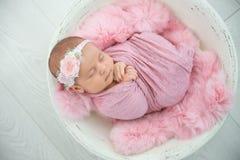 Adorable newborn girl lying in baby nest on light background stock photos