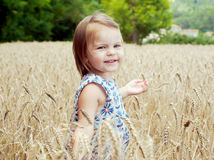 Adorable one and a half years girl walking in the field of wheat. Sun day. Summer. Royalty Free Stock Photo