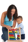 Adorable One Year Old African American Boy Playing Toy with Mom Stock Image