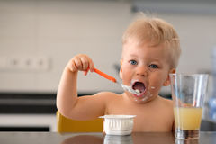 Adorable one year old baby boy eating yoghurt with spoon Royalty Free Stock Photos