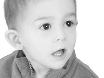 Adorable One Year Old Boy In Black and White Stock Photo