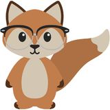 Hipster Nerdy Geeky Woodland Fox Illustration. Adorable orange woodland fox rocking hipster nerdy geeky style with glasses Royalty Free Stock Image