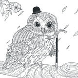 Adorable owl coloring page Royalty Free Stock Image