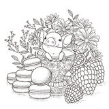 Adorable piggy coloring page Stock Photo