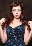 Adorable Pin Up Style Girl in Studio Royalty Free Stock Image