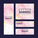 Adorable pink banner template design Stock Image