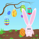 Adorable pink rabbit standing at the tree with Easter eggs vector illustration. Cute pink bunny. royalty free illustration