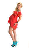 Adorable pregnant woman in modern dress stock images