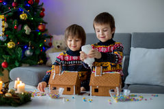 Adorable preschool children, boy brothers, decorating gingerbrea. D houses for Christmas at home, christmas tree behind them Royalty Free Stock Photos