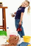 Adorable Preschool Girl Child Baking Stock Photo