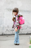 Adorable preschooler girl with backpack Stock Photos