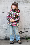 Adorable preschooler girl with backpack stock image
