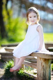 Adorable preschooler girl portrait outdoors Stock Photography