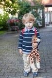 Adorable preschooler on way to school kindergarten summer Royalty Free Stock Photography