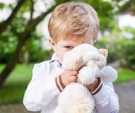 Adorable preschooler on way to school kindergarten summer Stock Photos