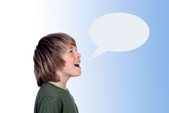 Adorable preteen boy shouting Royalty Free Stock Images