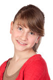 Adorable preteen girl. Isolated on white background Royalty Free Stock Photography