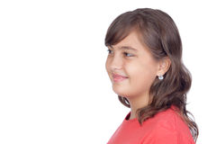 Adorable preteen girl. Isolated on white background Royalty Free Stock Photo