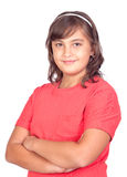 Adorable preteen girl. Isolated on white background Stock Photos