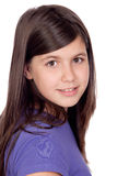 Adorable preteen girl. Isolated on white background Royalty Free Stock Image